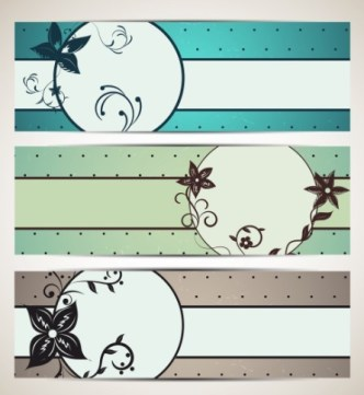 Vintage Vector Banner with Hand-Drawn Flowers