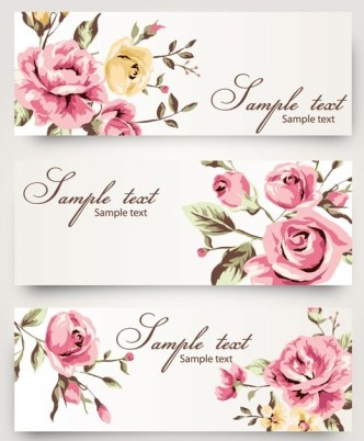 Vintage Vector Banner with Watercolor Flowers