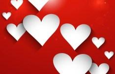White Valentine's Day Heart Card