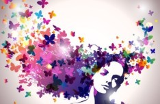 Woman with A Butterflies In Hair Multicolored