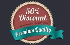 Discount Badge with Premium Quality Ribbon PSD