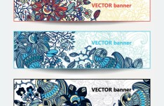 Set of Retro Vector Banners with Floral Patterns 01