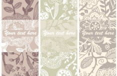 Set of Retro Vector Banners with Floral Patterns 03