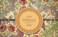 Vintage Card Set with Pattern Background