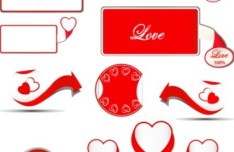 Simple Valentine's Day Labels and Ribbons Vector