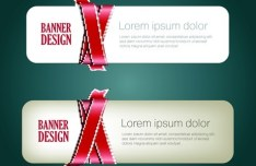Rounded Banner with Silky Glossy Ribbons Vector 01