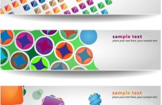 Set of Abstract Vector Banner with Colored Blocks 01