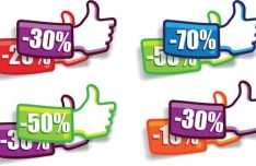 Thumb Up Discounts Labels Vector