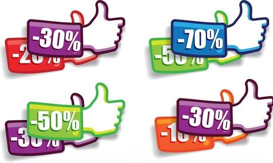 Thumb Up Discounts Labels Vector