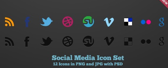 12 Social Media Icons In PNG and JPG with PSD