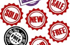 Retro Sales Labels Vector