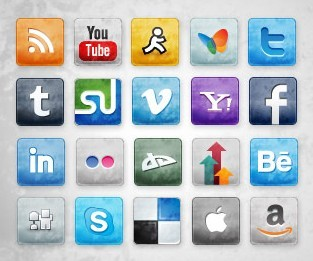 Social Media Icons with Stained and Faded Effect 02