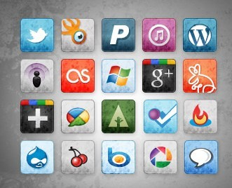 Social Media Icons with Stained and Faded Effect