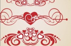 Valentine's Day Vector Border with Red Patterns 01