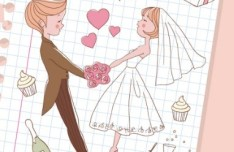 Lovely Cartoon Bride and Groom Vector Illustration 04