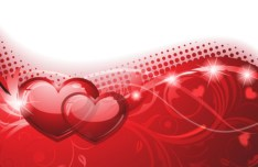 Valentine's Day Abstract Vector Background with Red Hearts 01
