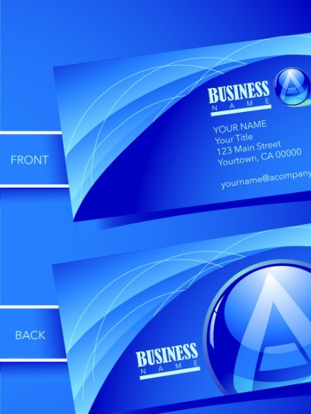 Blue Abstract Business Card Template Vector