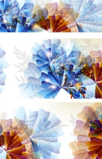 Set Of Blue and Yellow Flowers Background Vector