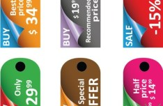 Set Of Silky Price Tags Vector