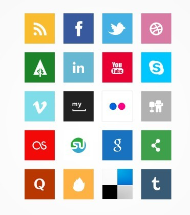 Simple Square Socia Media Icon Set