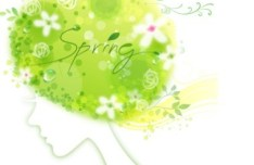 Spring Girl with Floral Pattern Vector 01