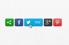 Clean Social Media Share Buttons PSD