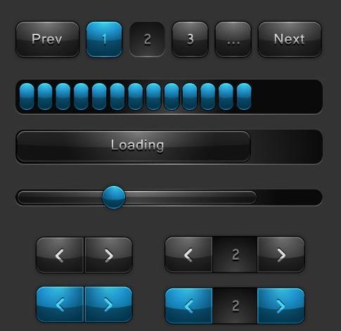 Dark Loading Bar and Page Nav GUI Vector