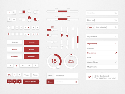 Red and Grey UI Kit PSD - Pizza UI