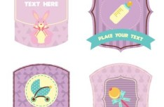 Set of Cute Vector Labels for Children