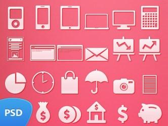 49 White Web Icon Set (PSD)