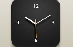 Black iOS Clock Icon PSD