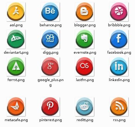 Three-dimensional Circular Social Media Icon Set