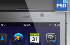 Black BlackBerry Z10 UI Kit PSD