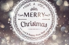 Vector Merry Christmas Badge with Fantastic Halo Background