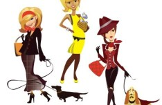 Cartoon Fashion Girls Vector 06