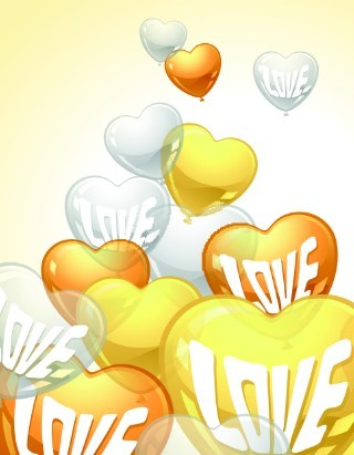 Yellow and White Transparent Heart-Shaped Balloons Vector