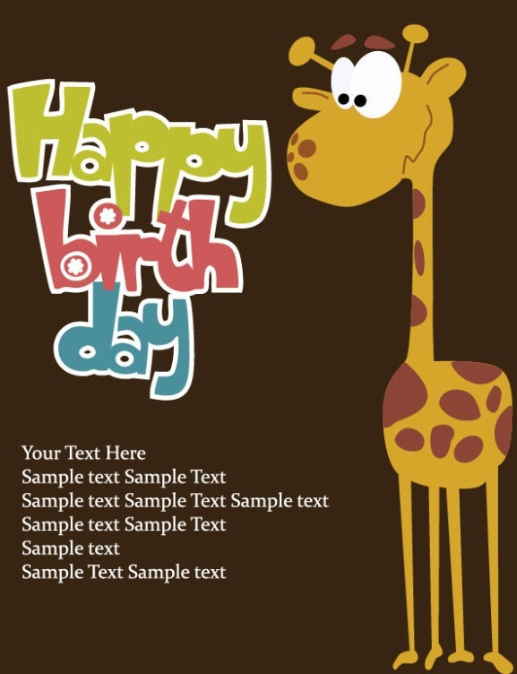 Free Cartoon Happy Birthday Post Card Vector 02 Titanui