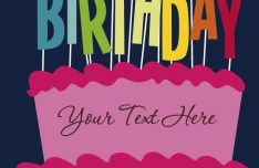 Cartoon Happy Birthday Post Card Vector 03