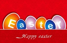 Happy Easter Card with Vintage Pattern Background Vector 01