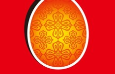 Happy Easter Card with Vintage Pattern Background Vector 03