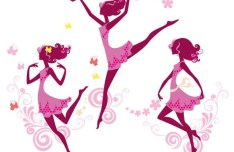 Vector Silhouette of Pink Dancing Girl