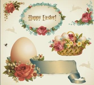 Vintage Happy Easter Design Elements Vector