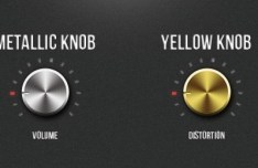 Metallic Volume and Distortion Knobs PSD