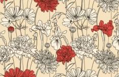 Cute Vintage HandDrawn Flowers Vector 01