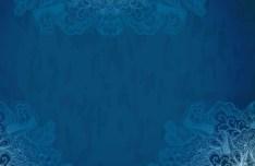 Vintage Blue Florals Pattern Background Vector 03