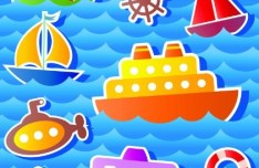 Colored Cartoon Ocean and Transport Elements Vector 01
