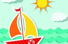 Colored Cartoon Ocean and Transport Elements Vector 03