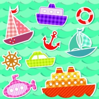 Colored Cartoon Ocean and Transport Elements Vector 04