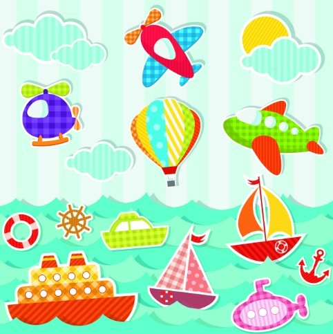 Colored Cartoon Ocean and Transport Elements Vector 05