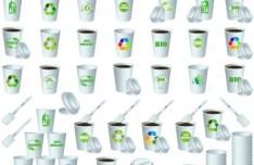 ECO & BIO Concept Paper Cups Vector 02